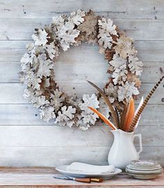 Cut picture-perfect leaves out of birch bark sheets for a unique (and frosted!) take on a natural wreath.