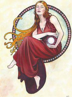 Limited Edition Art Print: Art Nouveau 16 Watercolor by Scott Christian Sava