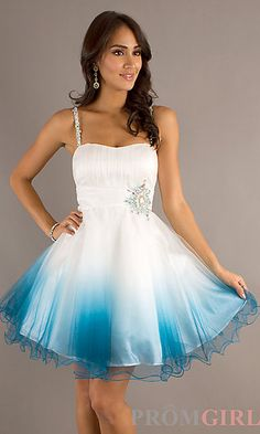 Short Spaghetti Strap Prom Dress by Dave and Johnny at PromGirl.com