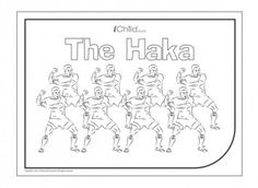 """The Haka is a traditional Maori warrior dance, now performed by the world-famous """"All Blacks"""" rugby team. Children can colour in the picture and also have a go at learning the Haka moves! Learning English, English Lessons, Teaching Kids, Kids Learning, Waitangi Day, All Blacks Rugby Team, Maori Patterns, Celebration Around The World, A Star Is Born"""