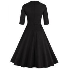 Retro Style Round Neck Floral Embroidery Women's Dress (BLACK,2XL) in Vintage Dresses | DressLily.com