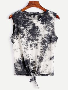 Tie Dye Knot Front Tank Top Mobile Site