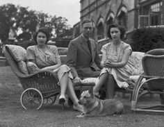 King George VI with his daughters, Princess Elizabeth and Princess Margaret at Windsor Castle. 1946