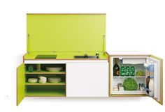 small-kitchen-miniki | Miniki's kitchen system | Transforms into elevated sideboard after use. Three different basic modules are available (mk1, mk2, mk3. They can be combined to provide the perfect kitchen for all purposes.There are kitchens for all requirements – from the mini-kitchen with just one sink and some storage room for small offices to kitchenettes with, for instance, a fridge and two cooking zones, or a fully equipped eat-in kitchen with the full range of functions.