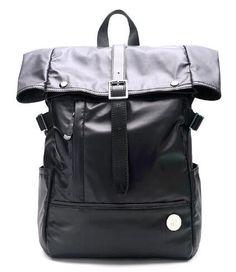 UIYI Brand Nylon With Genuine Leather Black Backpack Men Travel Bags Large Capacity Backpack School Bag For Teenager Bolsa