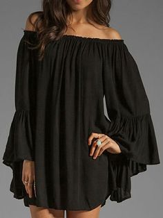 Fabulous Strapless Full Sleeve Pure Color Chiffon Loose Leisure T-Shirt For Lady on fashionsure.com