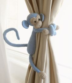 Monkey curtain tie pcs,Shabby chic curtains,Crochet Curtain Tie Backs,Nursery tie backs,Nurse - Boys Curtains, Coral Curtains, Shabby Chic Curtains, Nursery Curtains, Crochet Monkey, Crochet Baby, Rideaux Shabby Chic, Baby Elefant, Shabby Chic Birthday