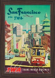 USA - TWA - San Francisco - (c. 1954) - Vintage Advertisement (11.5x18 Giclee Art Print, Gallery Framed, Espresso Wood), Multi