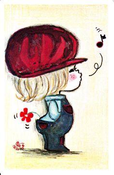 * Vintage Swap / Playing Card - 1 Single - Japanese Ado Mizumori Little Boy And Girl, Girls In Love, Little Boys, Line Friends, Cute Characters, Anime Chibi, Book Design, Art Girl, Cute Kids