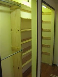 Still in the Closet...haaaaaaayyy   --------------  DIY - Pictures of how to build closet shelves quick and easy.  No complicated tools, just a hammer and nails.  And it only takes a few hours.  boards, build, closet shelves, diy, easy, hours, jerry seinfeld, make, nails, nooks, pine