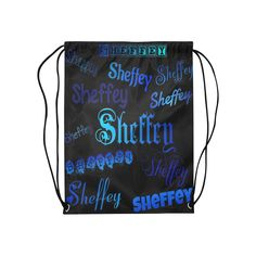 Sheffey Fonts - Shades of Blue on Black 040 Medium Drawstring Bag Model 1604 (Twin Sides) 13.8