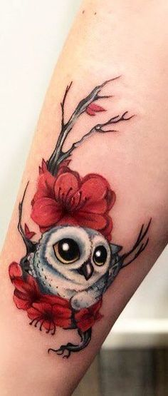 small & cute owl tattoo design © tattoomalibu