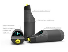 E-WAT - Thermos by WenHua Zhang - A touch sensor built directly into the skin of the thermos detects the user's hydration and alerts them when they need to drink! Read more at http://www.yankodesign.com/2014/01/22/ehydration/#fQjoGprQf6tlKXUH.99