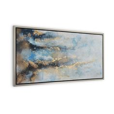 This hand painted abstract is inspired by  the raging current of the ocean; it's stormy blue hues subside into soft pastel tones such as the ocean calms as it approaches land. Accented with gold leaf and framed with a silver floater frame, this abstract is perfect for your beach inspired home.