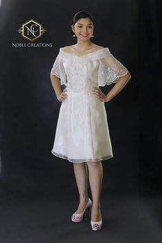 Filipiniana Top and Dress (Kultura), Philippines Dress, Philippines Fashion, Maria Clara Dress Philippines, Modern Filipiniana Dress, Filipiniana Wedding, Civil Wedding Dresses, Grad Dresses, Short Dresses, Off Shoulder Gown