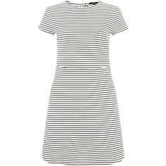White Stripe Textured Skater Dress (145.620 IDR) ❤ liked on Polyvore featuring dresses, white, white short sleeve dress, striped mini dress, skater dress, white fit and flare dress and white mini dress
