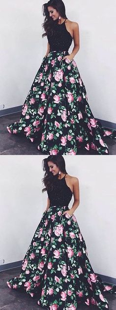 Chic A Line Prom Dress Modest Beautiful Black Floral Evening Dresses Long Prom Dress