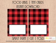 Printable Buffalo Plaid Food Label Tent Cards,  Buffalo Plaid Christmas tent cards, Holiday tent cards, Camping food tent cards