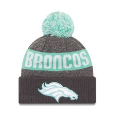 Men's Denver Broncos New Era Graphite/Clear Mint Sport Knit Hat