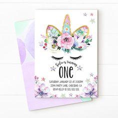 Invitación de unicornio unicornio cumpleaños invitación
