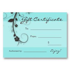 Salon Business Card Gift Certificate Turquoise blue brown Floral Swirls Gift Card great for any nail spa or hair salon.