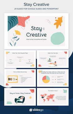 Customize our free Google Slides theme and PowerPoint template to give a presentation on how to stay creative at home Cute Powerpoint Templates, Template Brochure, Creative Powerpoint Presentations, Powerpoint Slide Designs, Powerpoint Themes, Powerpoint Template Free, Brochure Design, Flyer Template, Ppt Themes