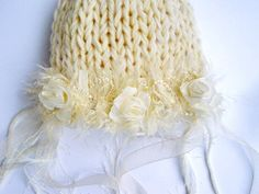Kids Newborn Hats Baby Photography prop  Handmade Newborn Photo prop Girl Romantic White Natural chic.
