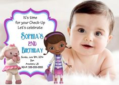 Doc McStuffins Birthday Digital Invitations 899 Mickey 1st Birthdays 2nd Parties