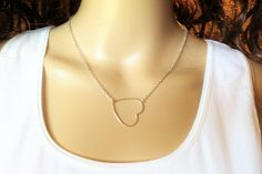 OPEN HEART NECKLACE, sterling silver, floating heart, heart pendant, layering, bridesmaid, great gift, dksjewelrydesigns