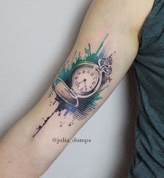 Watercolor pocket watch tattoo - 100 Awesome Watch Tattoo Designs  <3 <3