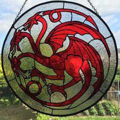 Targaryen Sigil stained glass by CookieCraftsGB on Etsy