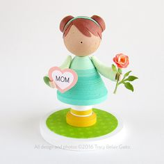 Mothers Day Quilled paper art doll girl figurine by runnerbean | Tracy Belair Gaito