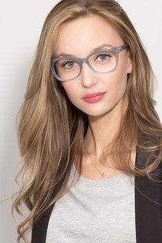 Brittany Clear/Blue Acetate Eyeglasses from EyeBuyDirect. Come and discover these quality glasses at an affordable price. Find your style now with this frame.