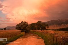 Sunset at Yellowstone US by Samuel_Zhou  US clouds farm land landscapes mountains red river sky sunset travelling trees yellow Samuel_Zhou