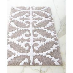 John Robshaw Khoma Bath Rug ($85) ❤ liked on Polyvore featuring home, bed & bath, bath, bath rugs, gray pattern, cotton bathroom rugs, gray bathroom rugs, grey bath rug, grey bathroom rugs and cotton bath rugs
