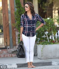 Eva Longoria looked casual in a red, white, and blue button down leaving Ken Paves Salon in the West Hollywood Design District   July 30, 2015