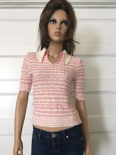 Vintage 70s Mod Collar Shirt  Pink Striped by GypsysClosetVintage