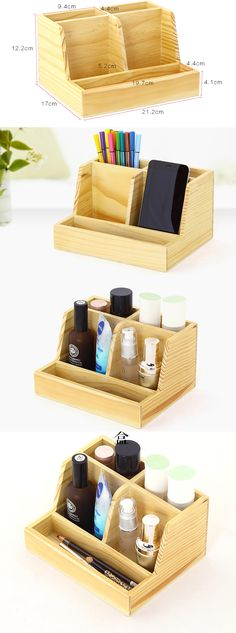 Bamboo Desk Organizer Pen Pencil Holder Business Name Cards Remote Control Holder