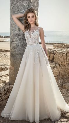 danny mizrachi 2018 bridal embroidered strap sleeveless deep plunging sweetheart neckline heavily embellished bodice romantic a  line wedding dress open scoop back (10) mv -- Dany Mizrachi 2018 Wedding Dresses