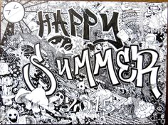 """Happy Summer 2015 6""""x8"""" pen and ink signed illustration PRINT, funny doodles cartoons dragon fire summer vacation mushrooms scifi spaceship by WyldTrees on Etsy"""