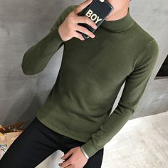 Hot Sale Men Sweater 2018 Winter New Slim Fit Half High Collar Pull Homme Knitted Pullovers Men Casual Women Jumpers Knitwear  Price: 652.98 & FREE Shipping