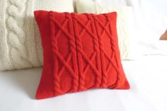 Hand knit cushion cover red pure cable knit home by Adorablewares, $35.00
