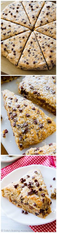 Melt-in-your-mouth Chocolate Chip Scones. Tender, moist, and so easy to make! They taste like soft chocolate chip cookies. Love scones and with chocolate chips in them, I am dieting inside! Just Desserts, Delicious Desserts, Dessert Recipes, Yummy Food, Sallys Baking Addiction, Sweet Bread, Baking Recipes, Scone Recipes, Cookie Recipes