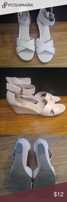 "Fioni Blush Kitten Strappy Wedges 2 1/2"" high, these beautiful lightly worn wedges are perfect for any occasion!  Feel free to make offers, bundle, share, or comment! Fioni Shoes Wedges"