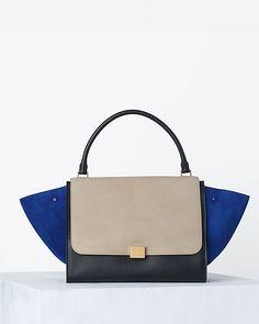 CÉLINE Trapeze Handbag In Multicolor Textured Calfskin Sand