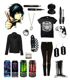 """""""Tomorrows outfit!"""" by gee-way-3-way ❤ liked on Polyvore featuring Converse, Topshop, King Baby Studio, Noir Cosmetics, Lancôme, GAB and emo"""