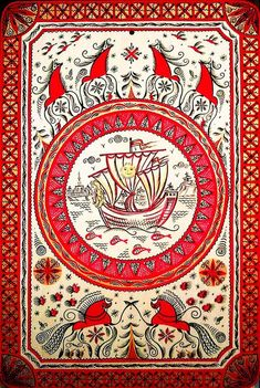 Traditional Mesen painting, Russia. Pattern with horses, birds and a ship