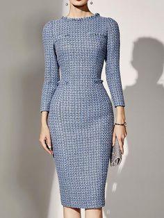 5cdf3d80ef6 AbelledayWomen Elegant Party Dresse Pockets plaid Crew Neck Midi Dress –  abelleday Midi Dresses