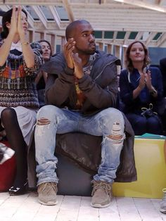 kanye west denim/rick owen parka/visvim shoes