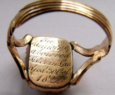 """Georgia Pearl Mourning Ring """"In memory of a beloved sister-in-law died 30 Oct 1822"""""""